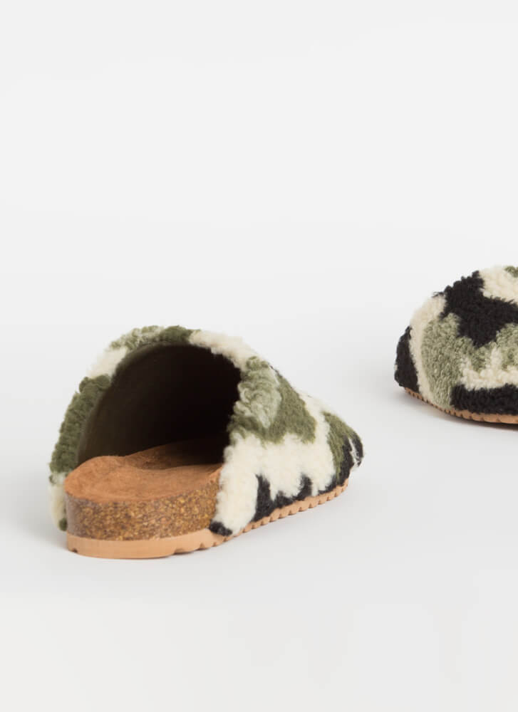 Feel Right At Home Furry Slipper Flats  CAMO