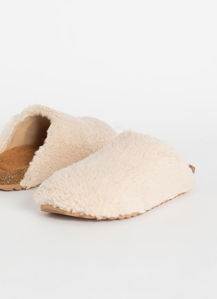Feel Right At Home Furry Slipper Flats  CREAM