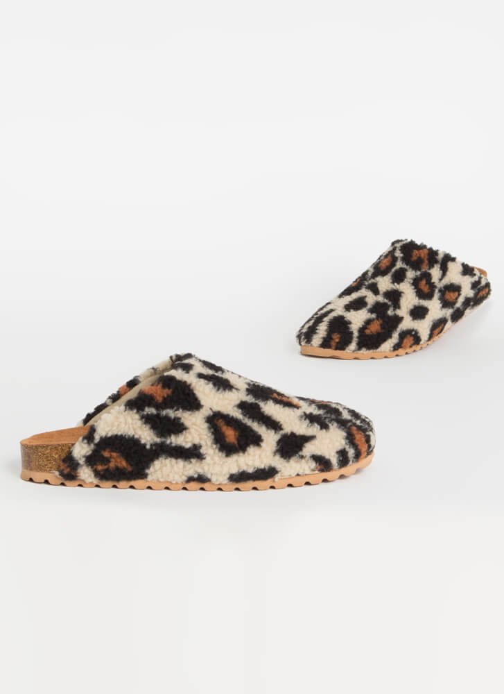 Feel Right At Home Furry Slipper Flats  LEOPARD
