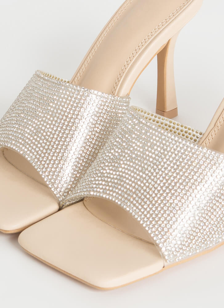 Jeweled Everything Rhinestone Mule Heels NUDE