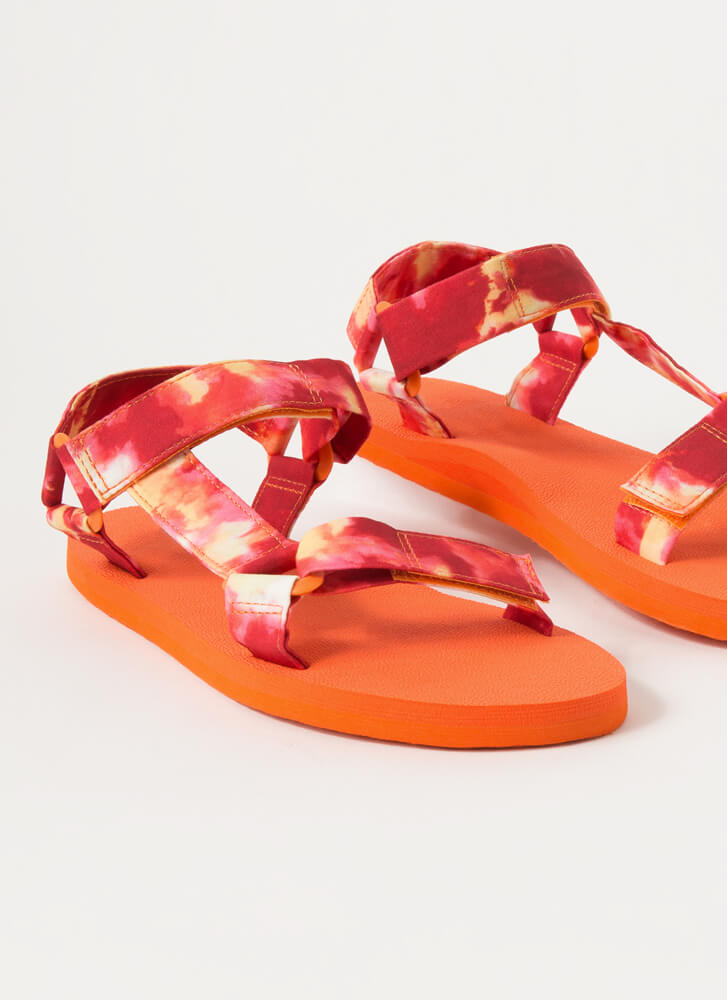 Harness My Energy Sporty Tie-Dye Sandals CORAL