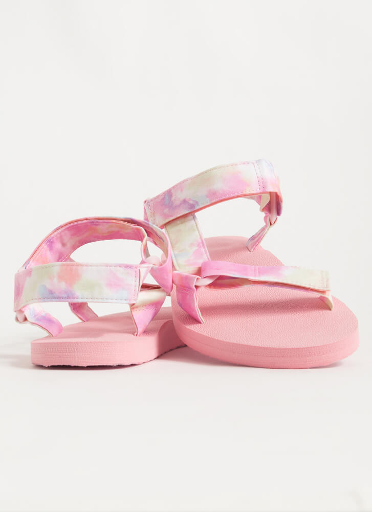 Harness My Energy Sporty Tie-Dye Sandals PINK