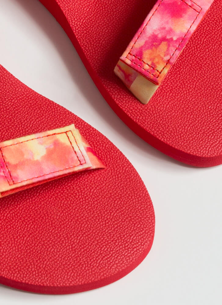 Harness My Energy Sporty Tie-Dye Sandals RED