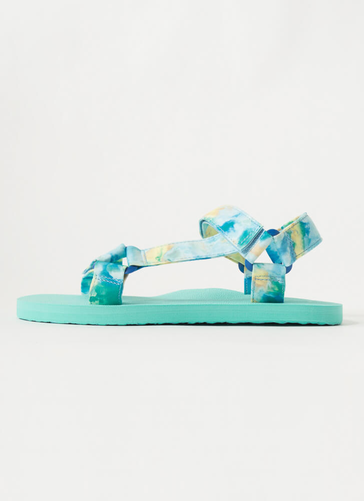 Harness My Energy Sporty Tie-Dye Sandals TEAL