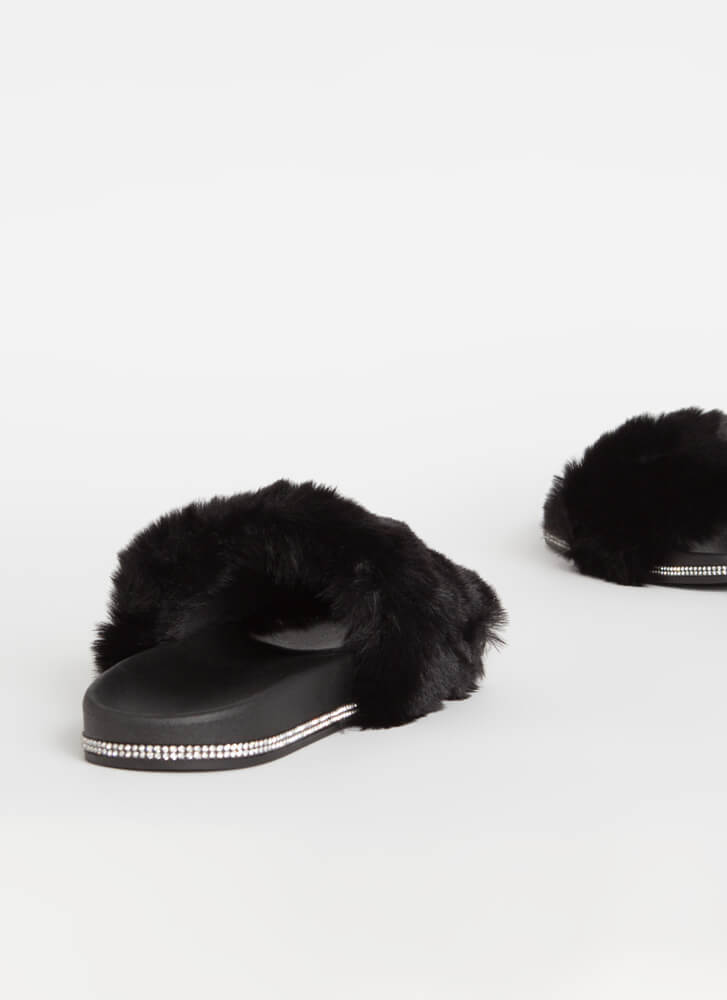 Get Luxe Jeweled Faux Fur Slide Sandals BLACK