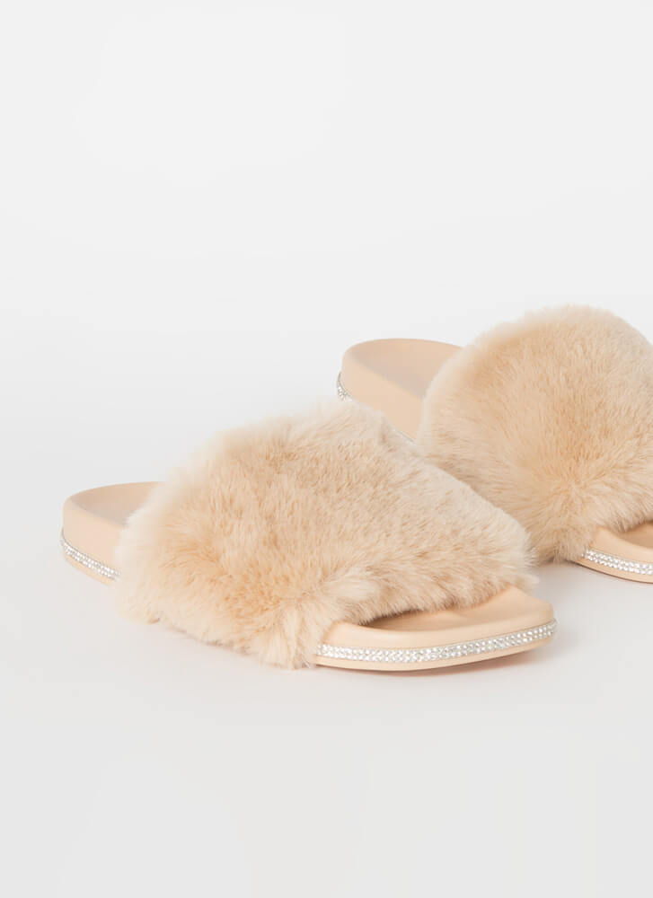 Get Luxe Jeweled Faux Fur Slide Sandals NUDE
