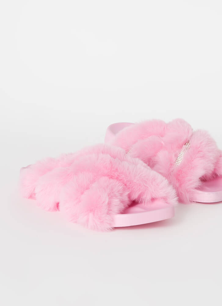 So X-Tra Jeweled Faux Fur Slide Sandals PINK