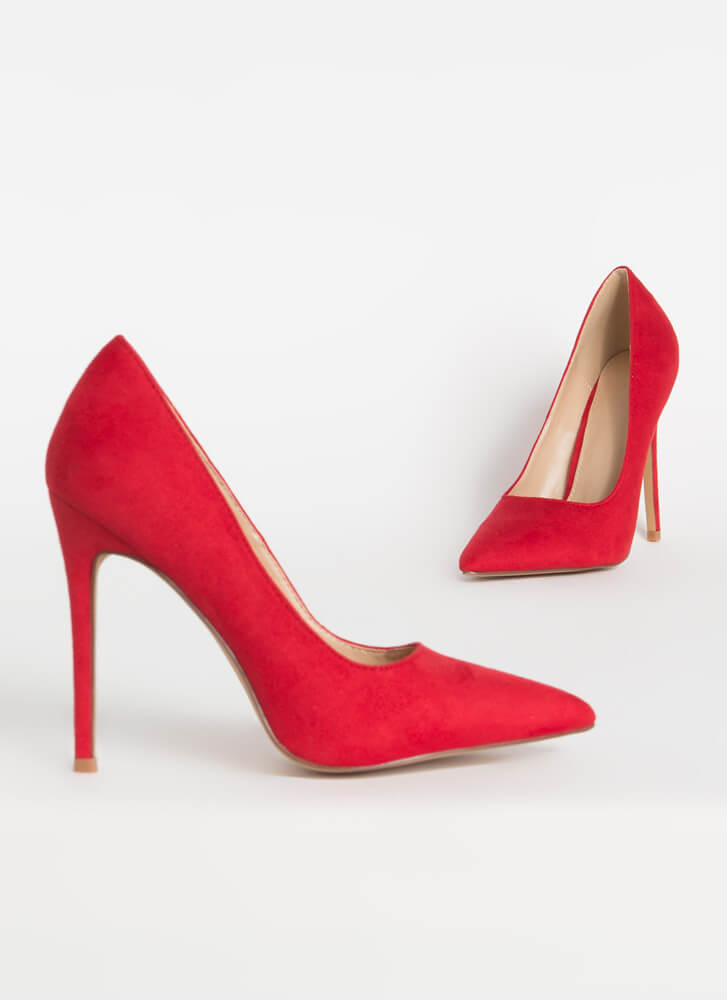 Frisky Business Pointy Faux Suede Pumps RED