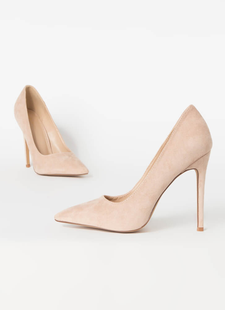 Frisky Business Pointy Faux Suede Pumps TAUPE