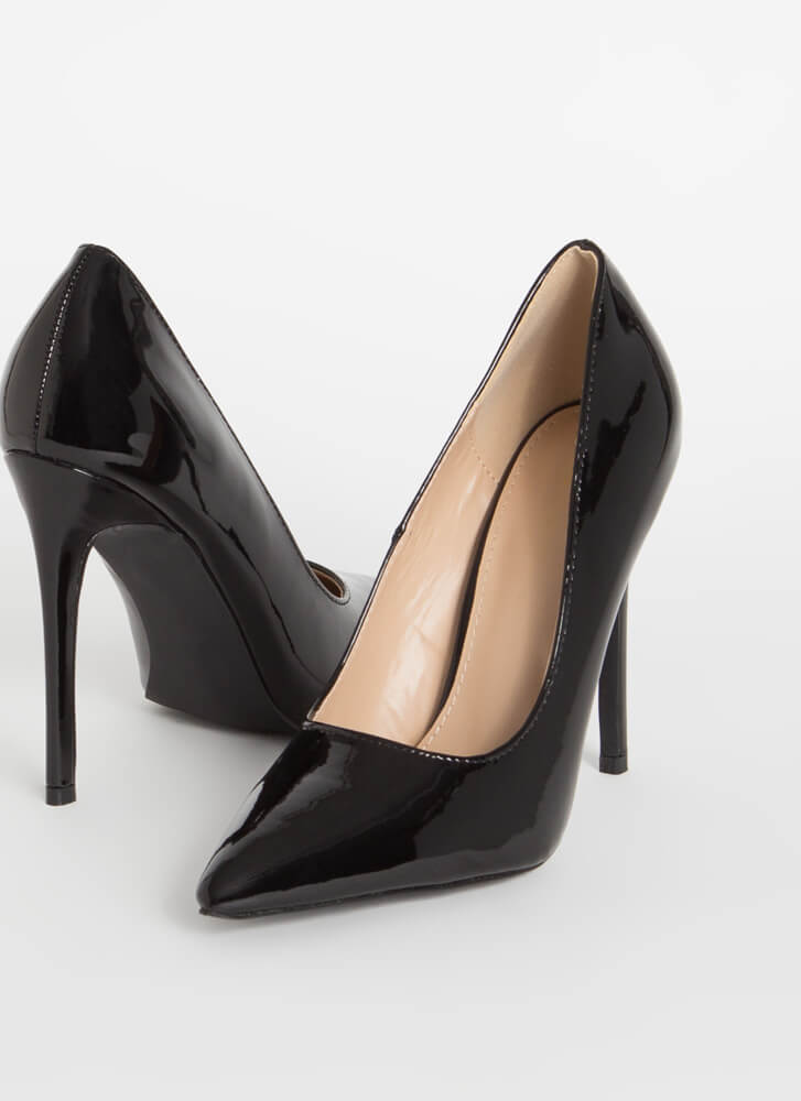 Power Heels Pointy Faux Patent Pumps BLACK