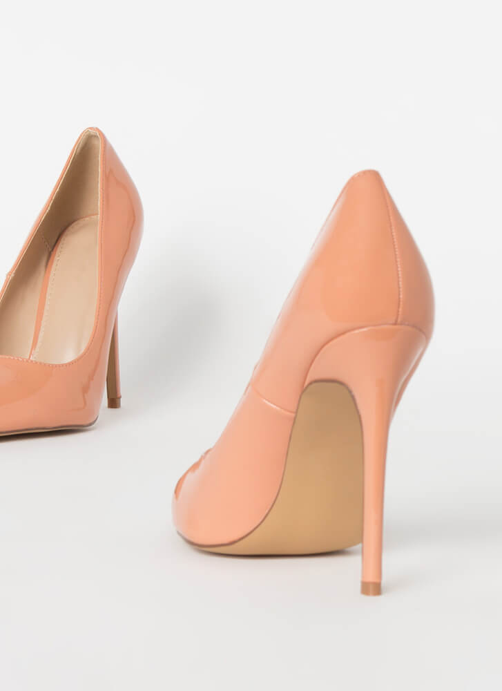 Power Heels Pointy Faux Patent Pumps TAUPE