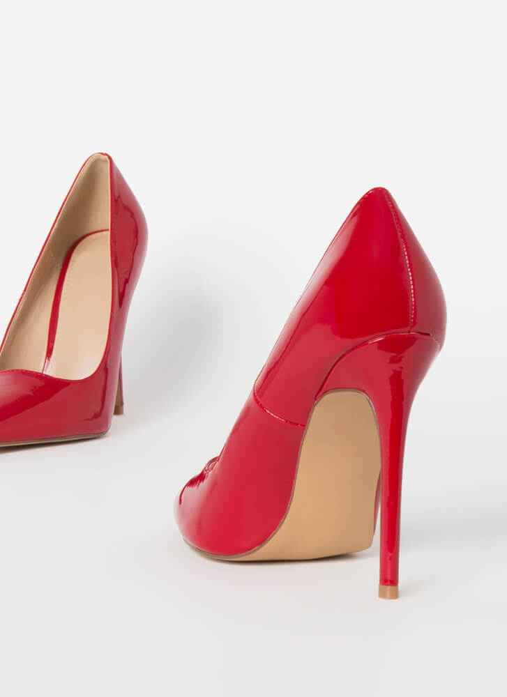 Power Heels Pointy Faux Patent Pumps WINE