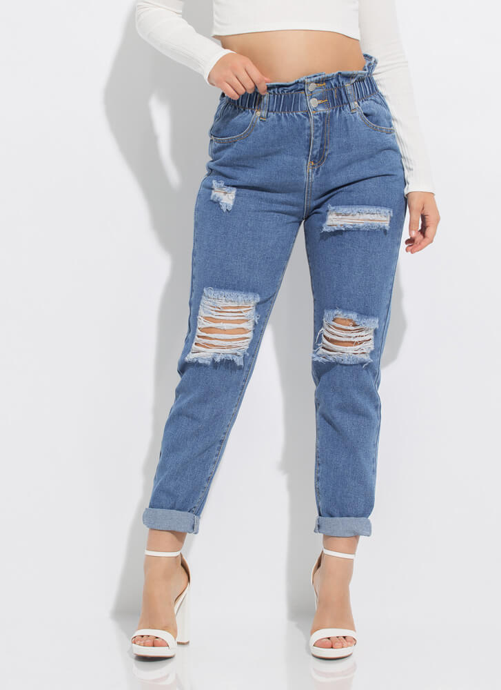 My Style Distressed Paper-Bag Jeans  MEDBLUE