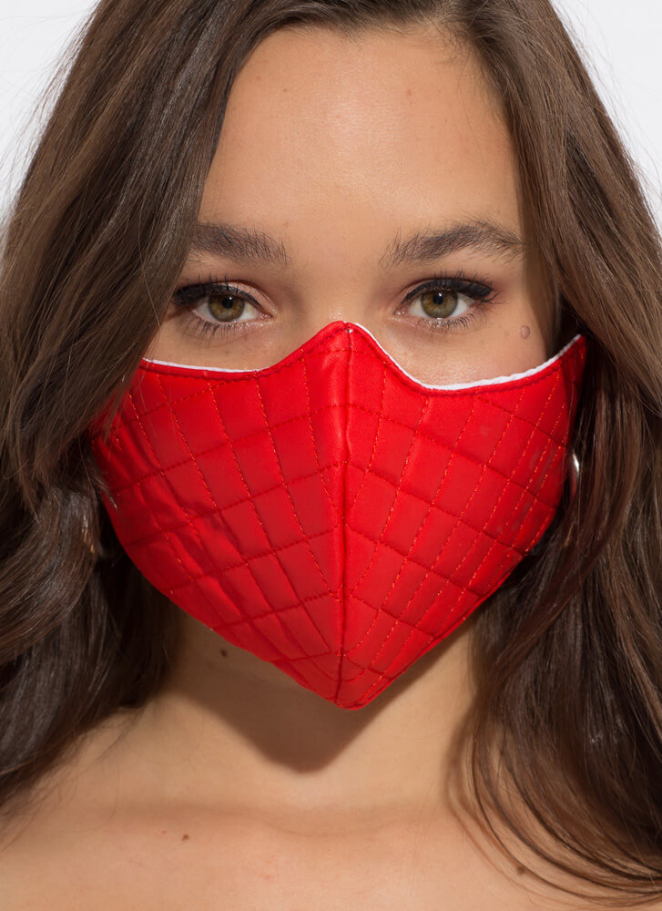 Feeling Quilty Faux Leather Face Mask RED