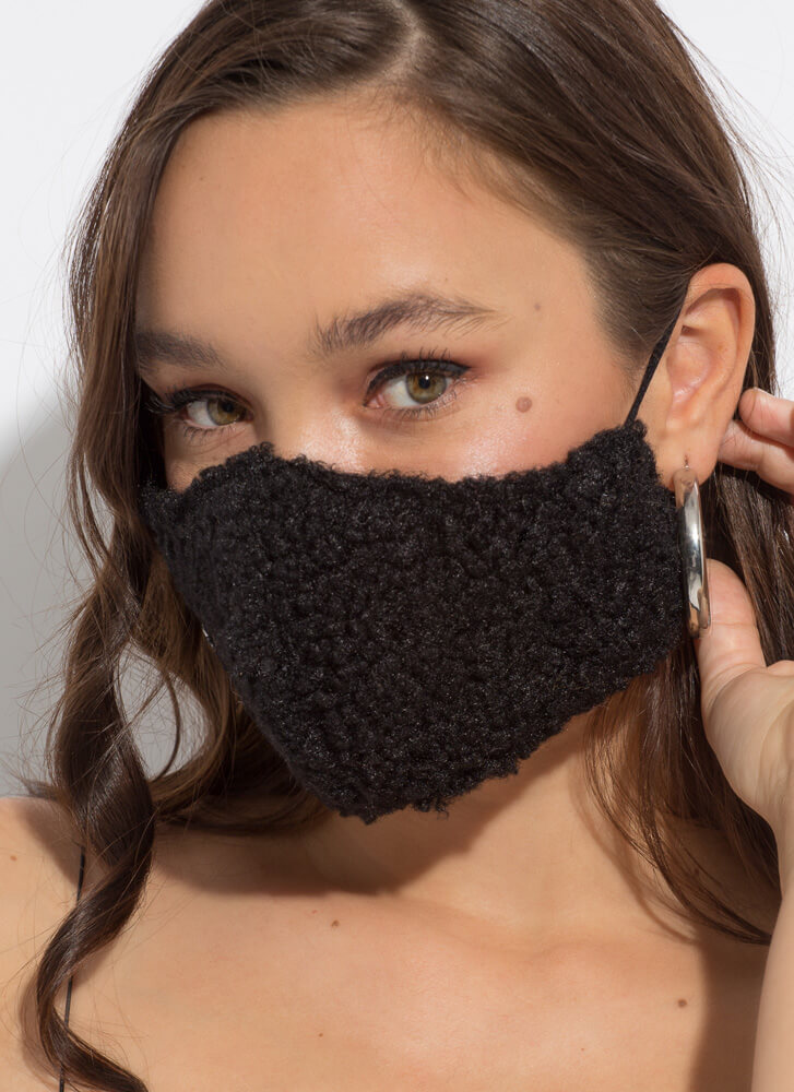 Face The Cold Faux Shearling Face Mask BLACK