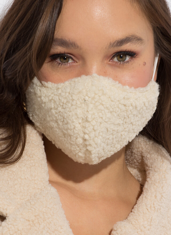 Face The Cold Faux Shearling Face Mask IVORY