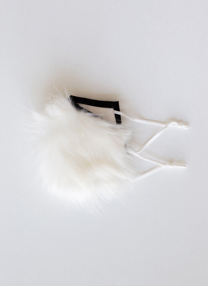 Fur Your Own Good Shaggy Face Mask WHITE
