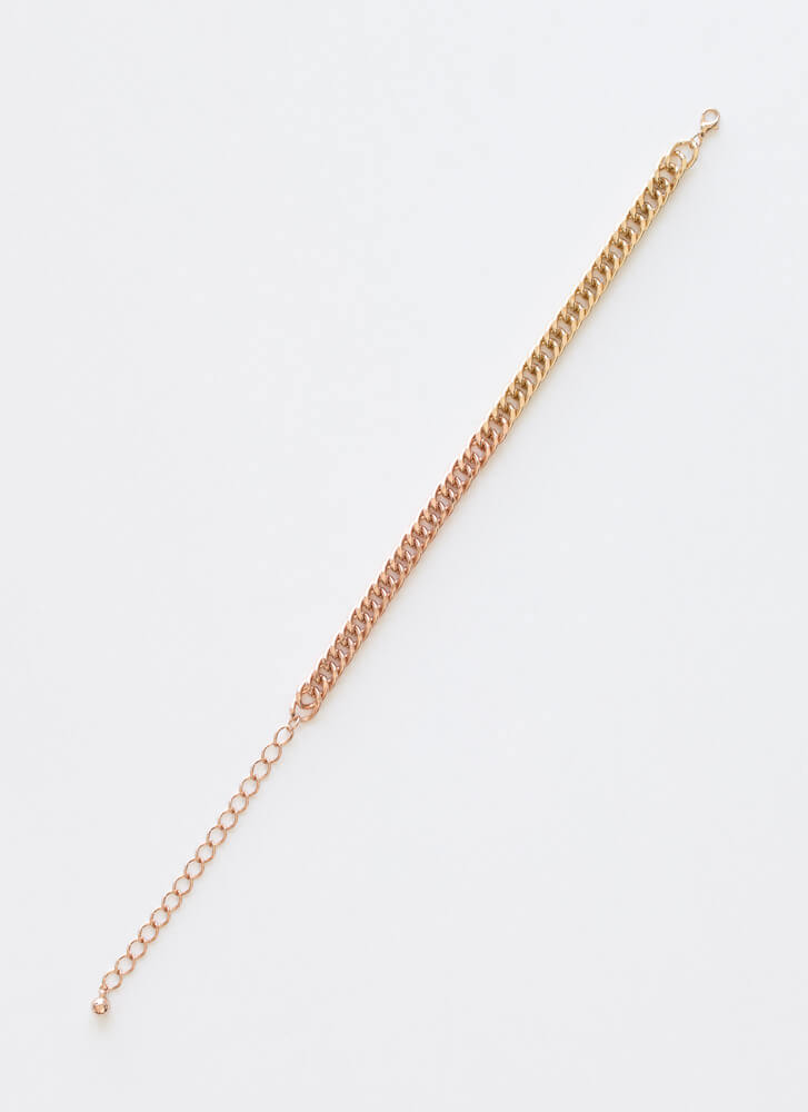 I Pick Both Mixed Metal Chain Choker ROSEGOLD