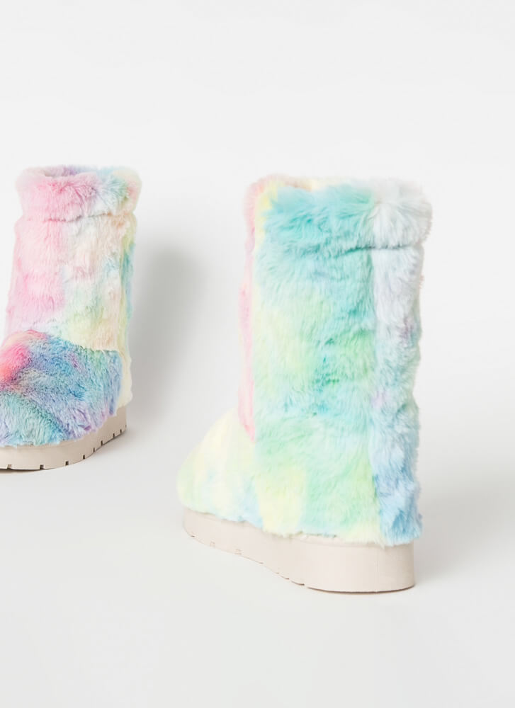 Cold Comfort Short Chunky Faux Fur Boots MULTI