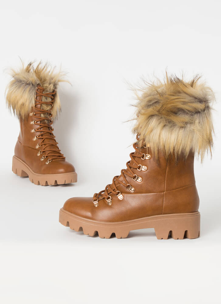 Love Shag Furry Faux Leather Laced Boots TAN