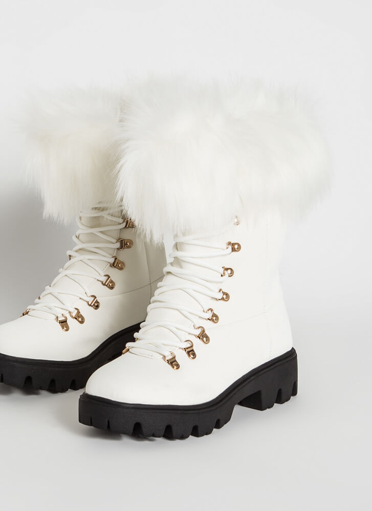 Love Shag Furry Faux Nubuck Laced Boots WHITE