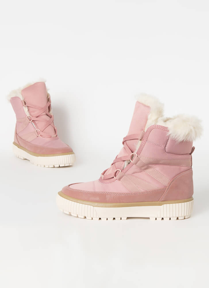 Gnar Fur-Trimmed Sneaker Boots BLUSH
