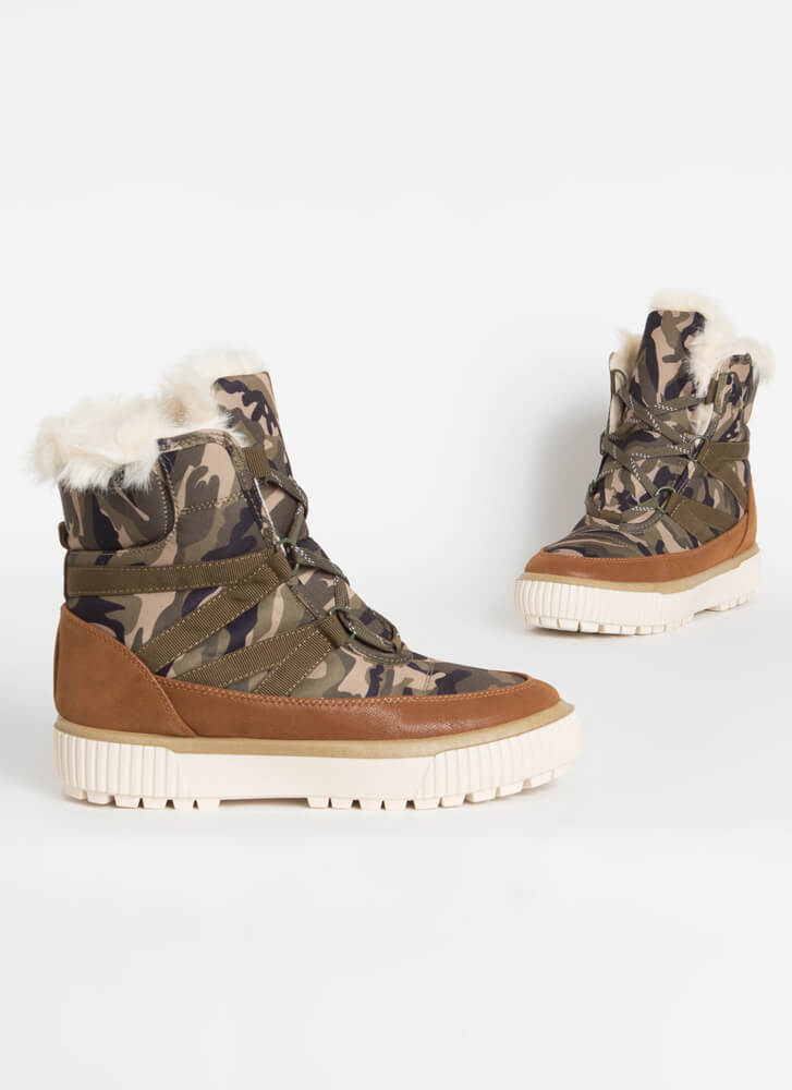 Gnar Camo Fur-Trimmed Sneaker Boots OLIVE