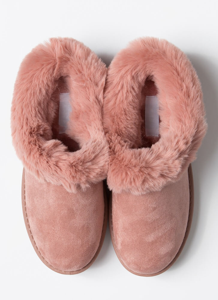 Cute And Cozy Fur-Trimmed Slipper Flats BLUSH