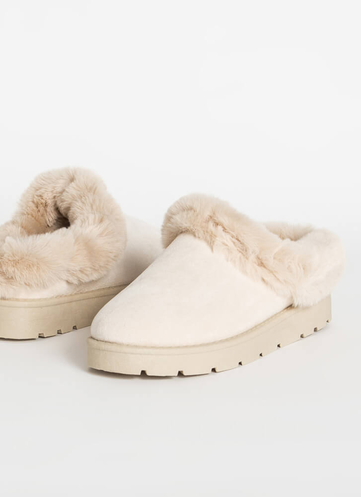 Cute And Cozy Fur-Trimmed Slipper Flats IVORY