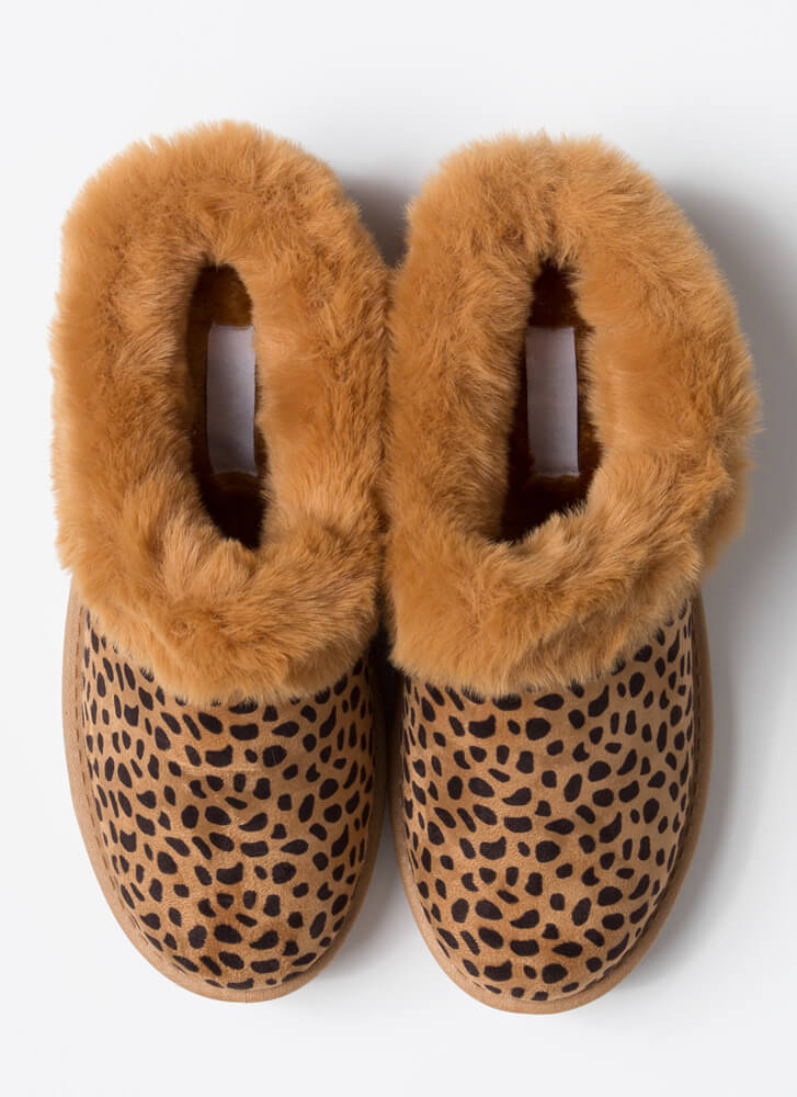 Cute And Cozy Fur-Trimmed Slipper Flats LEOPARD