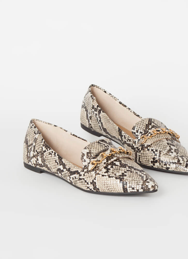 Linked Faux Snake Chain Strap Loafers BEIGE