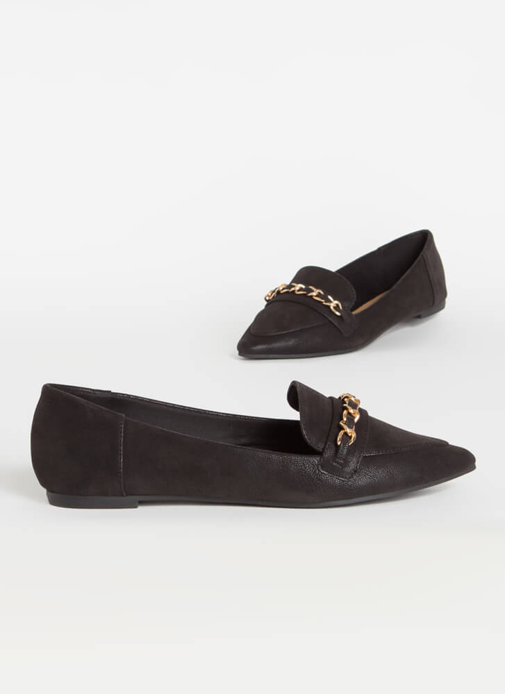 Linked Faux Nubuck Chain Strap Loafers BLACK