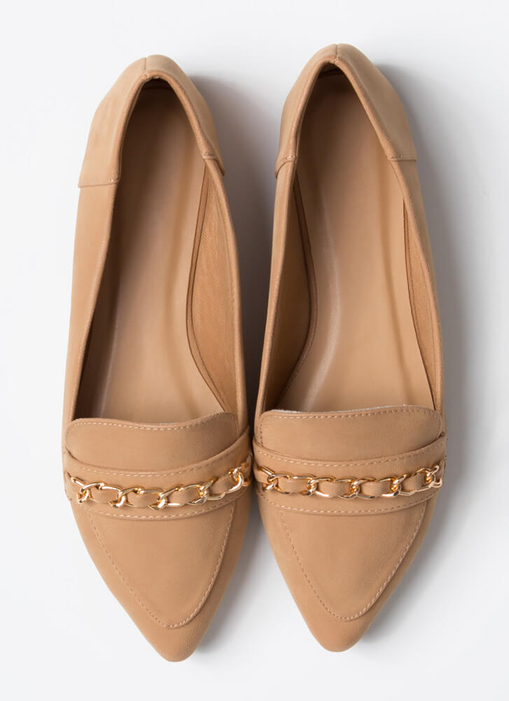 Linked Faux Nubuck Chain Strap Loafers CAMEL