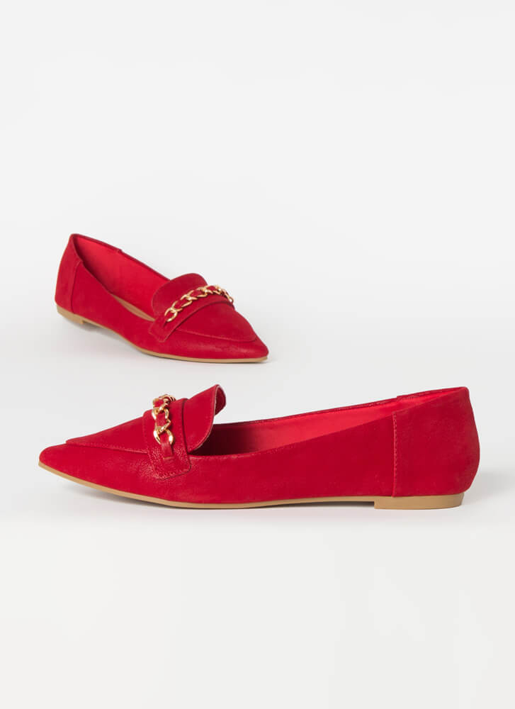 Linked Faux Nubuck Chain Strap Loafers RED