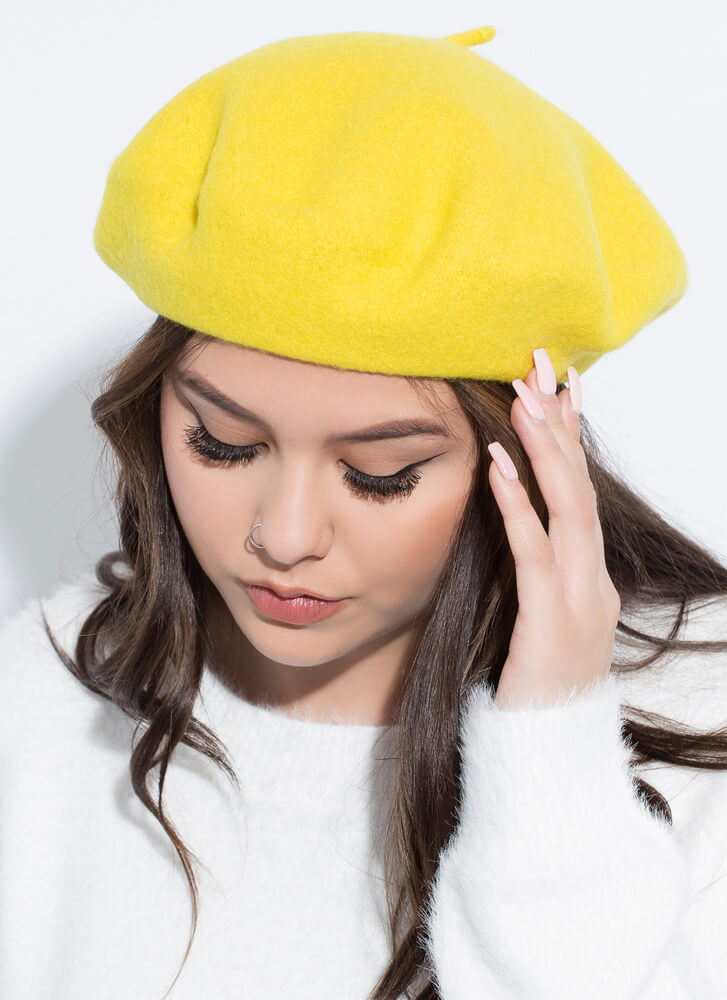Do You Speak French Wool Beret YELLOW