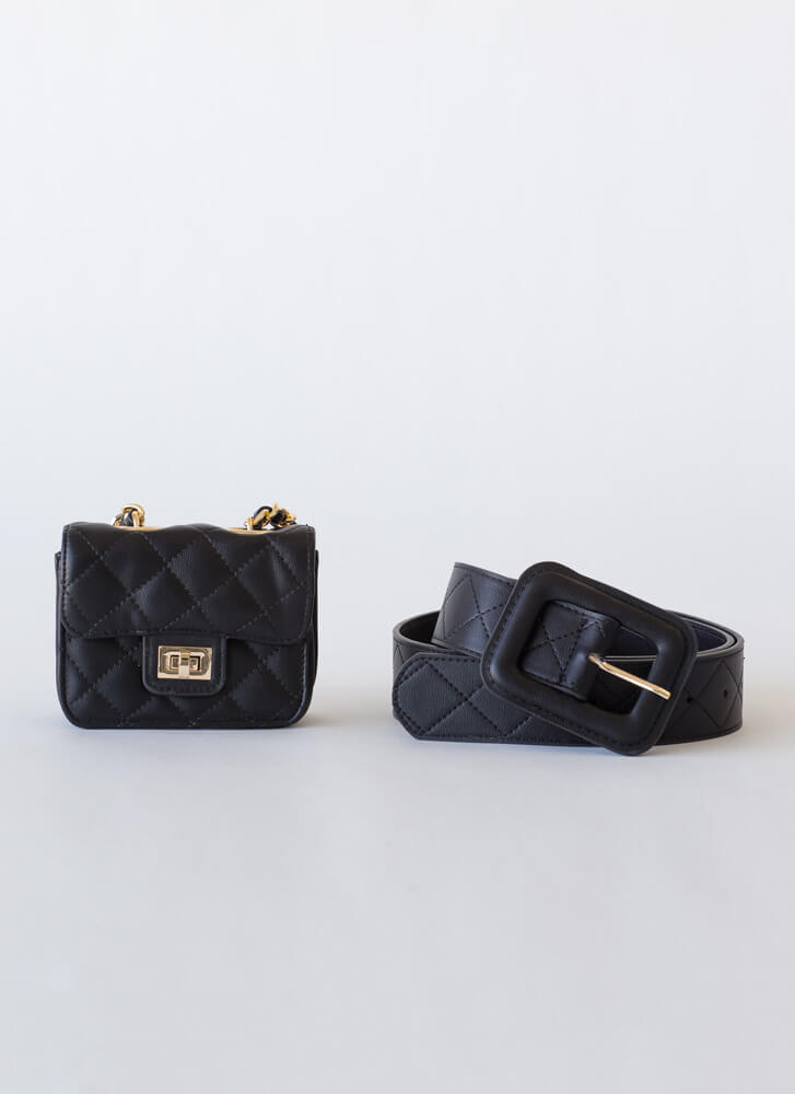 Hands Off Belt And Micro Purse Set BLACK