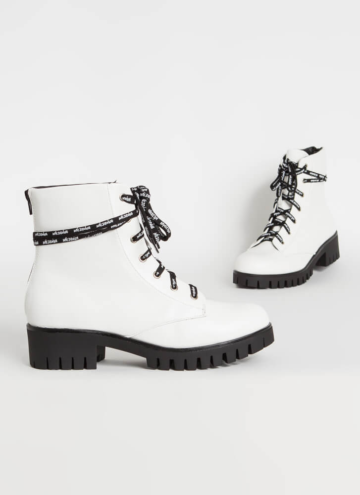 Text Me Laced Lug Sole Combat Boots WHITE