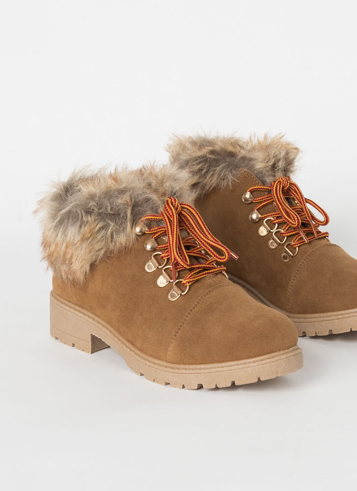 Take A Hike Furry Faux Suede Booties CAMEL