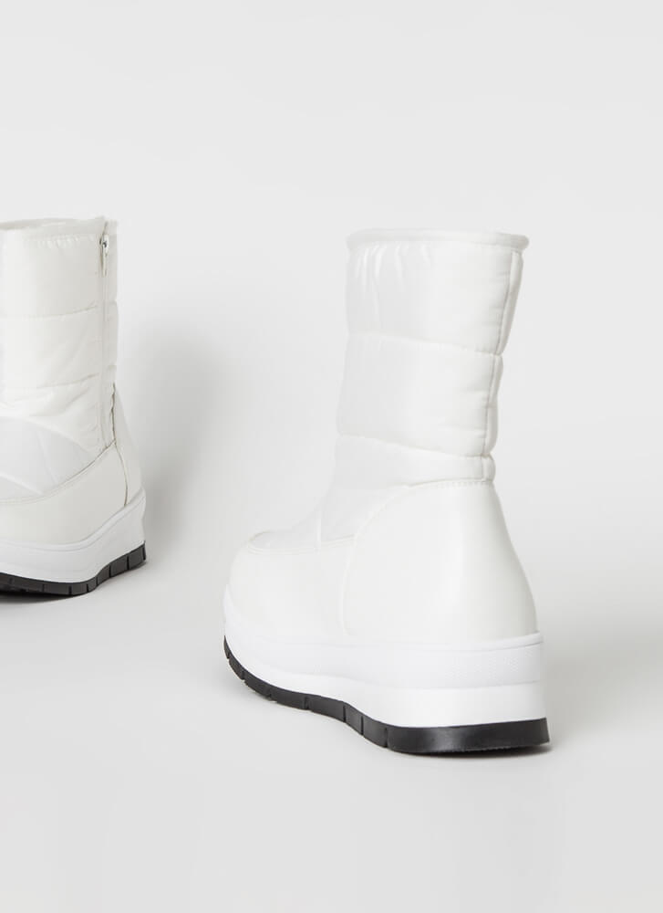 Winter Is Coming Nylon Platform Boots WHITE