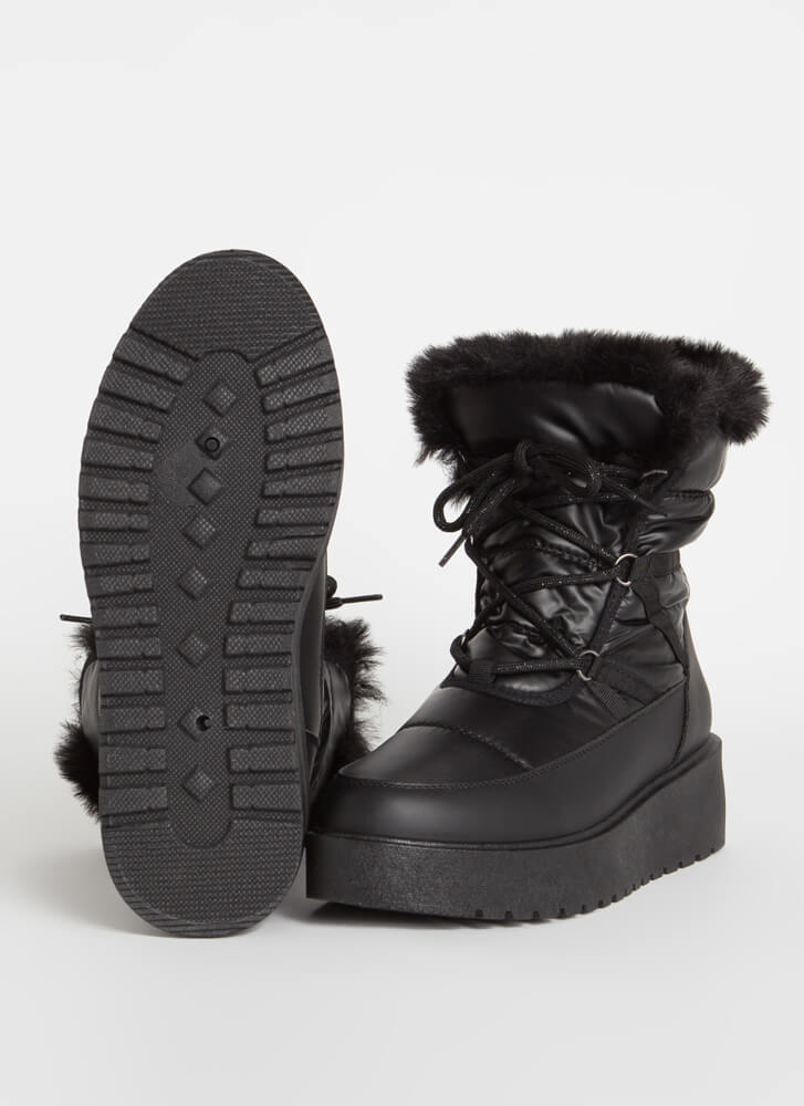 Space Out Laced Fur Trim Platform Boots BLACK