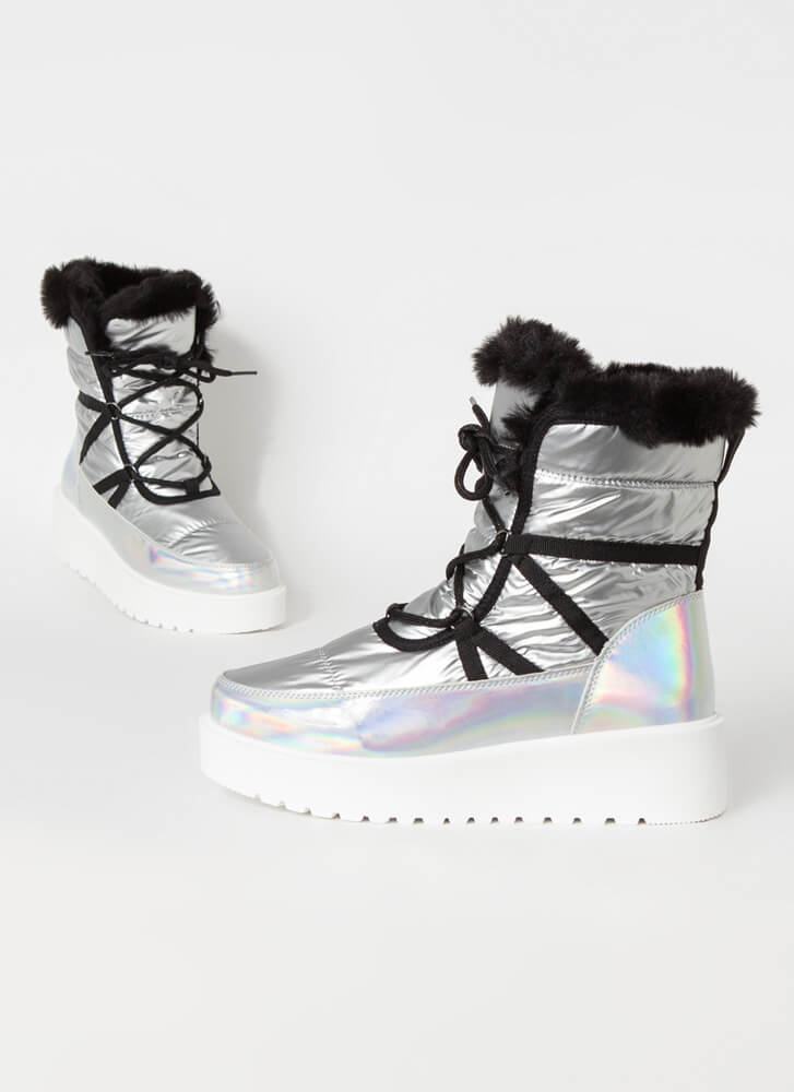 Space Out Laced Fur Trim Platform Boots SILVER