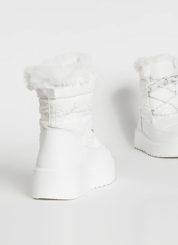 Space Out Laced Fur Trim Platform Boots WHITE