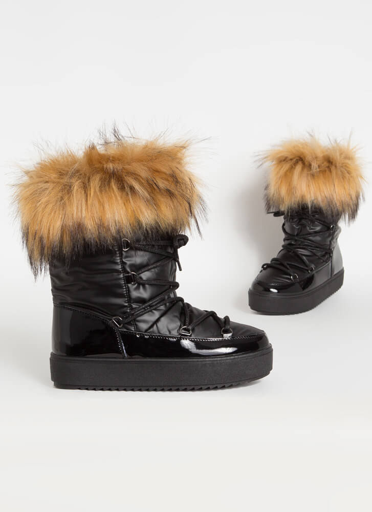 Moon Walk Shaggy Furry Lace-Up Boots BLACK