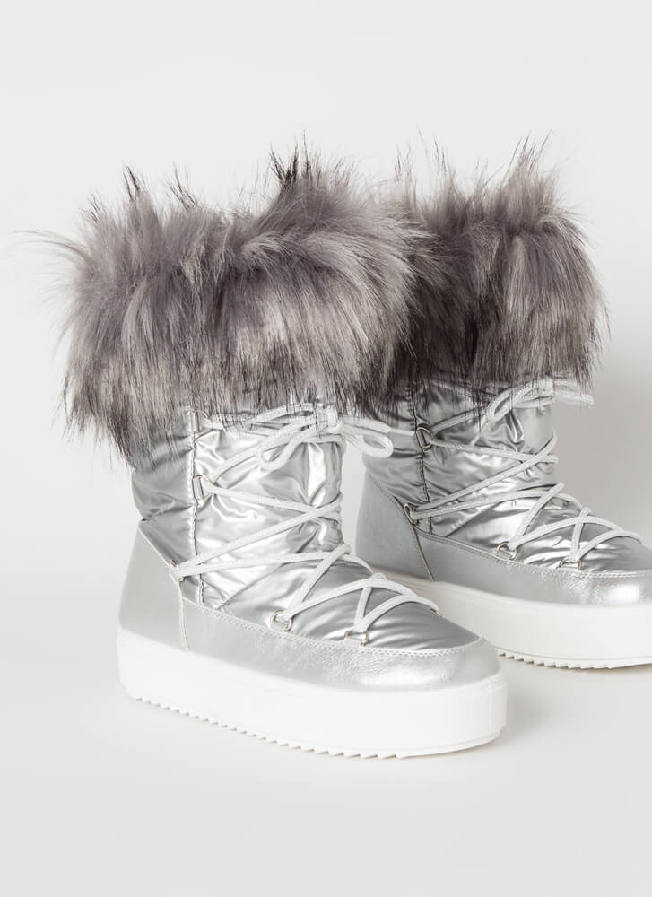 Moon Walk Shaggy Furry Lace-Up Boots SILVER