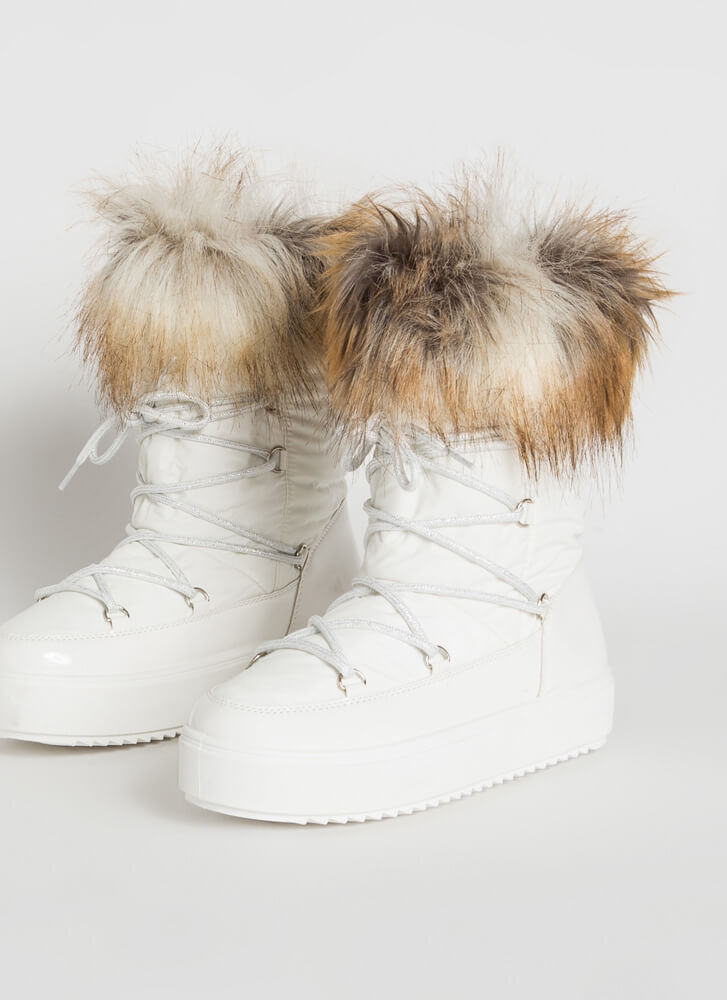 Moon Walk Shaggy Furry Lace-Up Boots WHITE