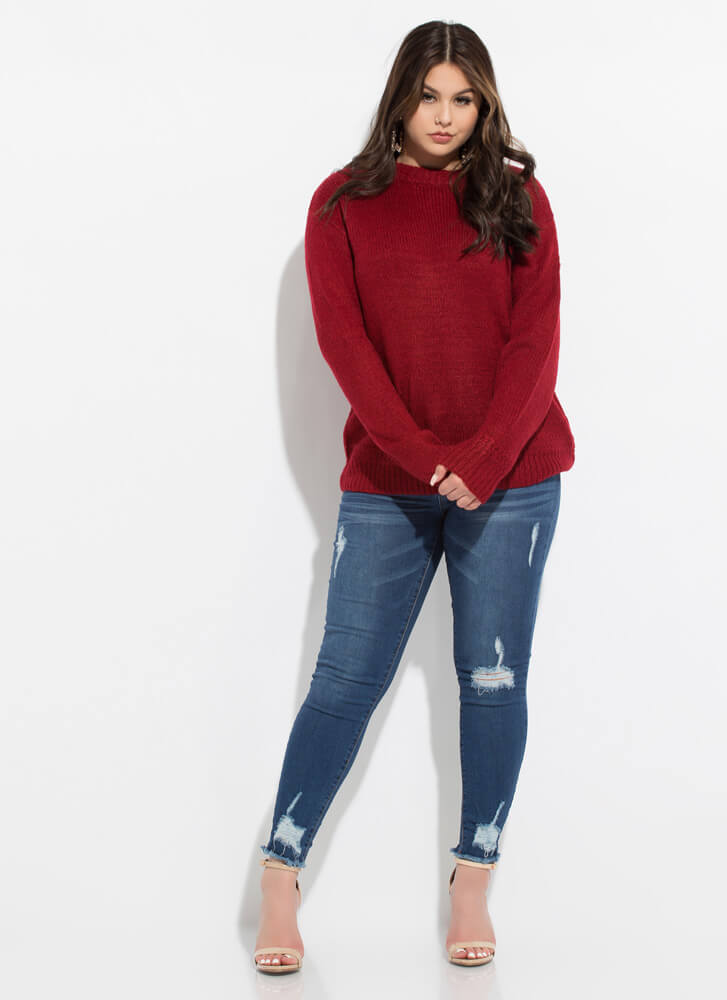 Special Attention Braided Knit Sweater MAROON