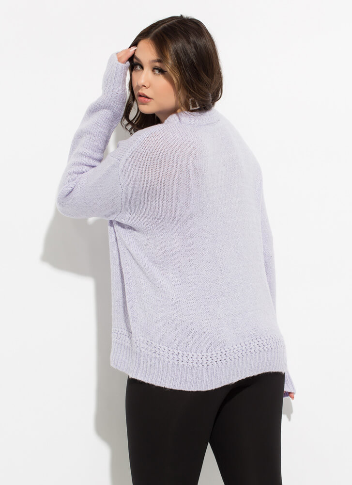 Special Attention Braided Knit Sweater PERIWINKLE