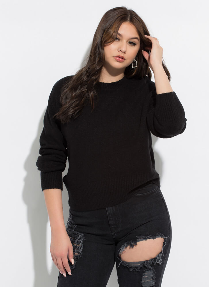 Warm And Cozy Soft Knit Sweater BLACK
