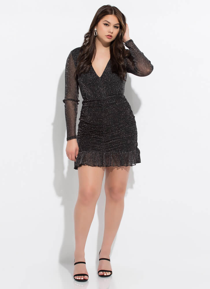 Glitter Party Ruched Ruffled Minidress BLACK