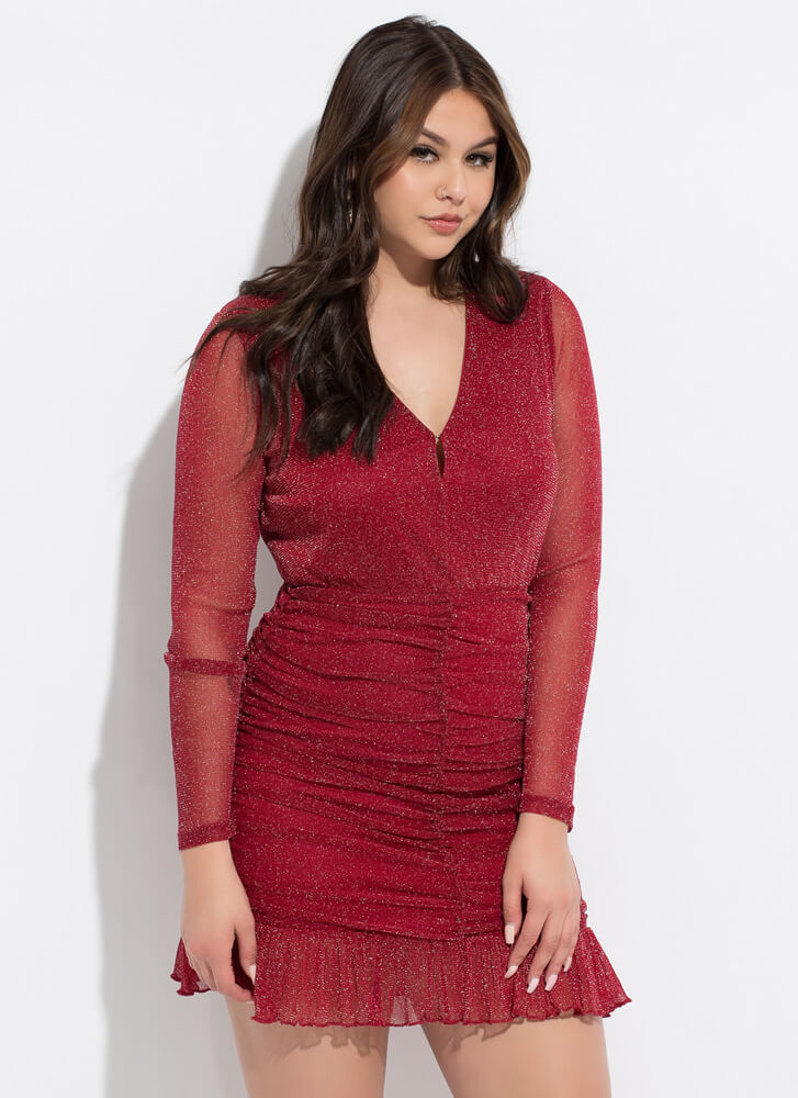 Glitter Party Ruched Ruffled Minidress WINE